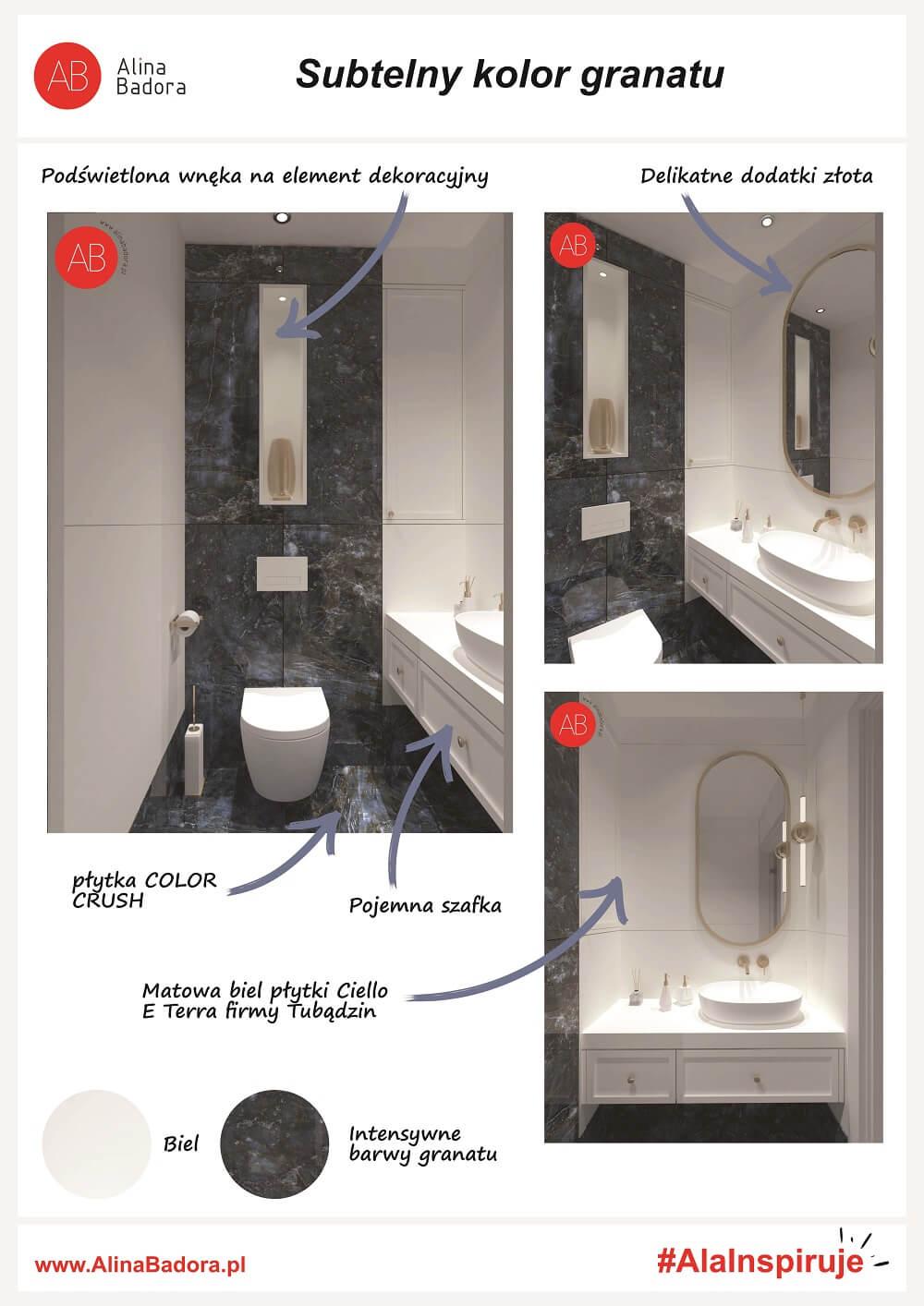 Ala Inspiruje - łazienka w subtelnym odcieniu granatu