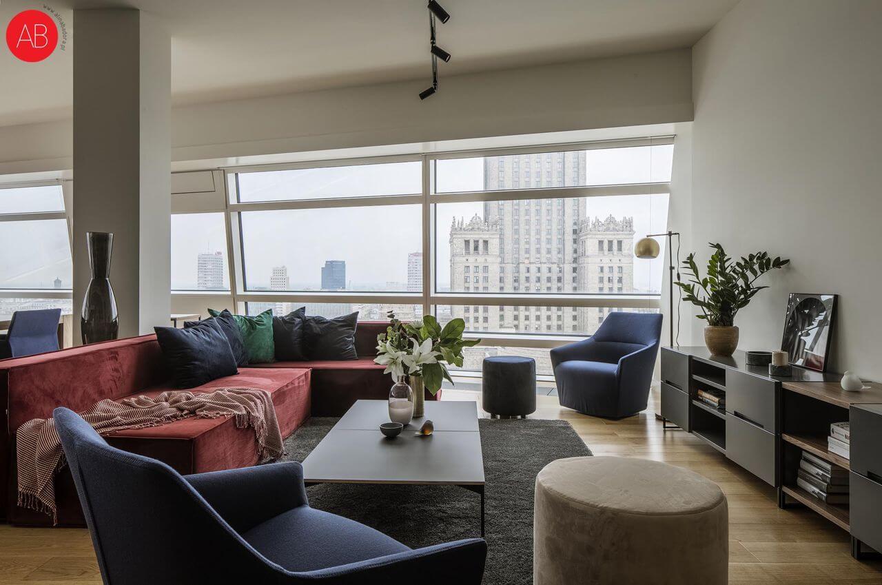 Apartament Burgundzkie wino (Złota 44.) - projekt wnętrza glamour | Alina Badora, architekt wnętrz