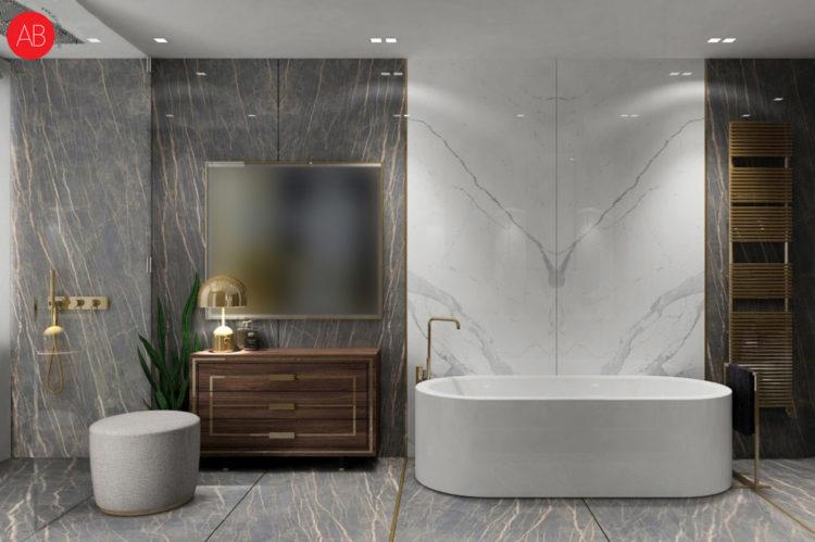 Diamonds and pearls (łazienka) - luksusowy projekt wnęrza domu   Alina Badora, architekt wnętrz