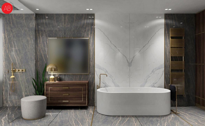 Diamonds and pearls (łazienka) - luksusowy projekt wnęrza domu | Alina Badora, architekt wnętrz