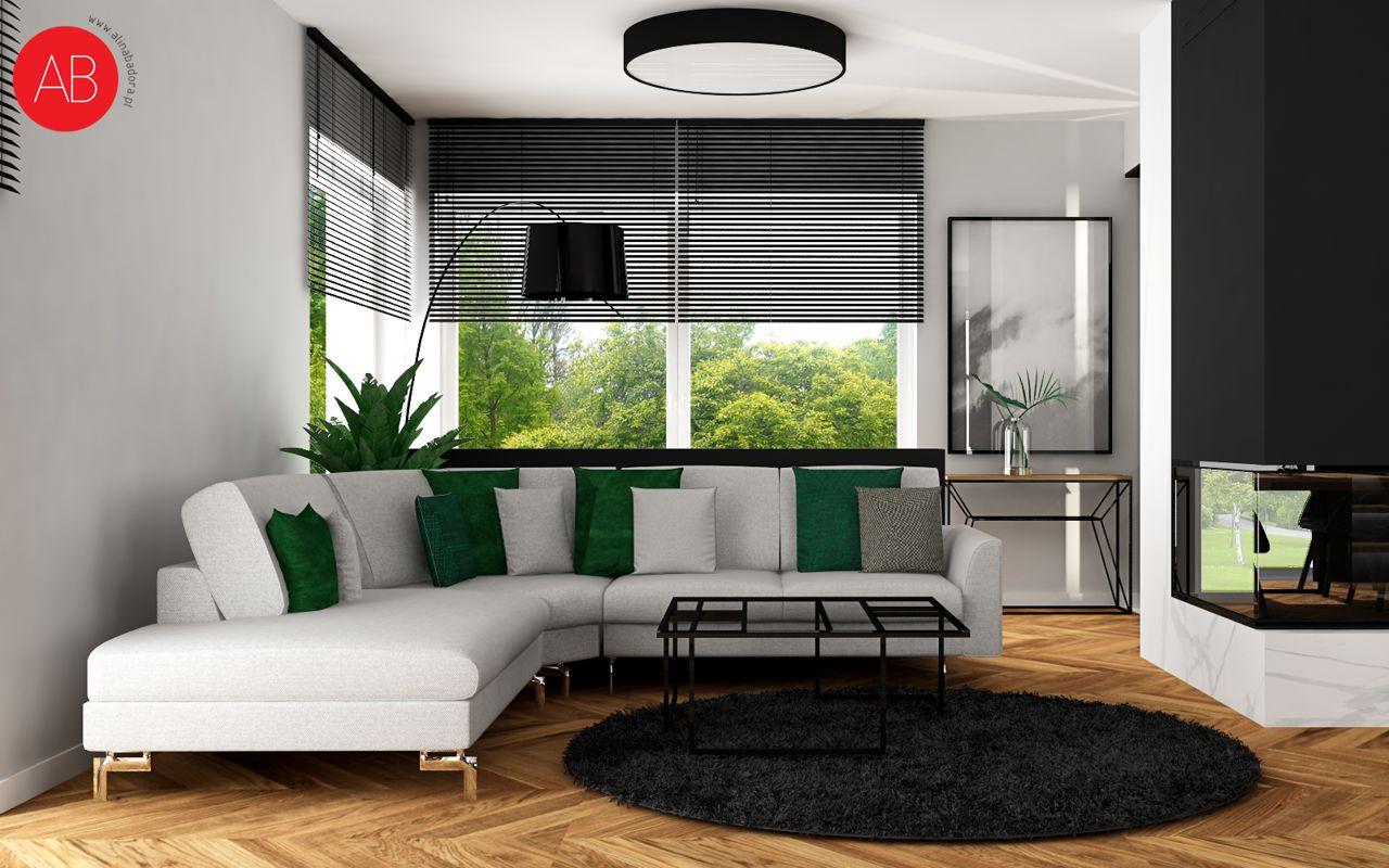 Dom Black & White (minimalizm w salonie) | Alina Badora, architekt wnętrz