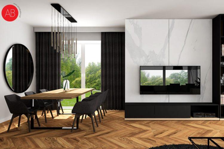 Dom Black & White (salon)   Alina Badora, architekt wnętrz