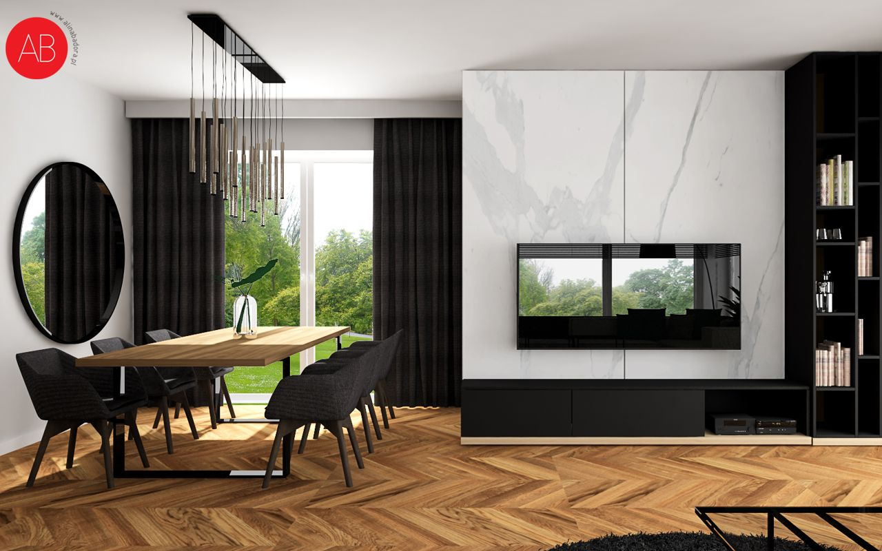 Dom Black & White (salon) | Alina Badora, architekt wnętrz