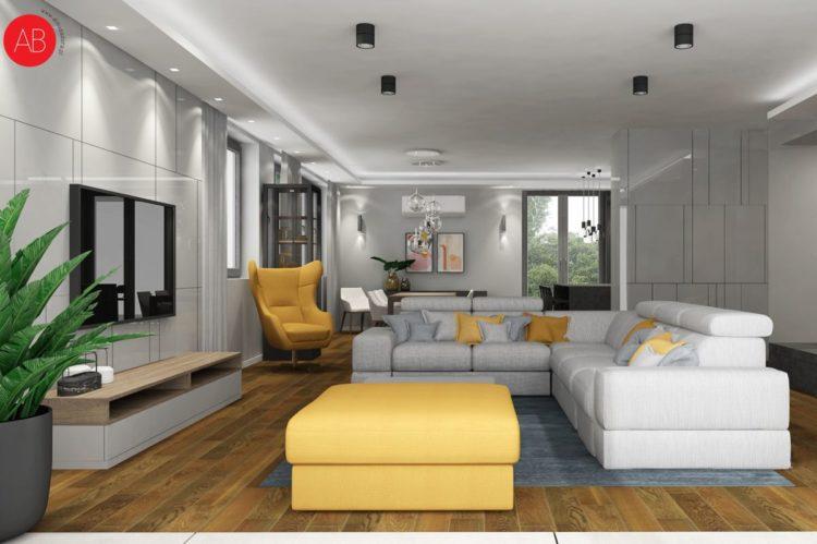 Dom pod dębem (salon, styl nowoczesny) - projekt wnętrza mieszkania   Alina Badora, architekt wnętrz