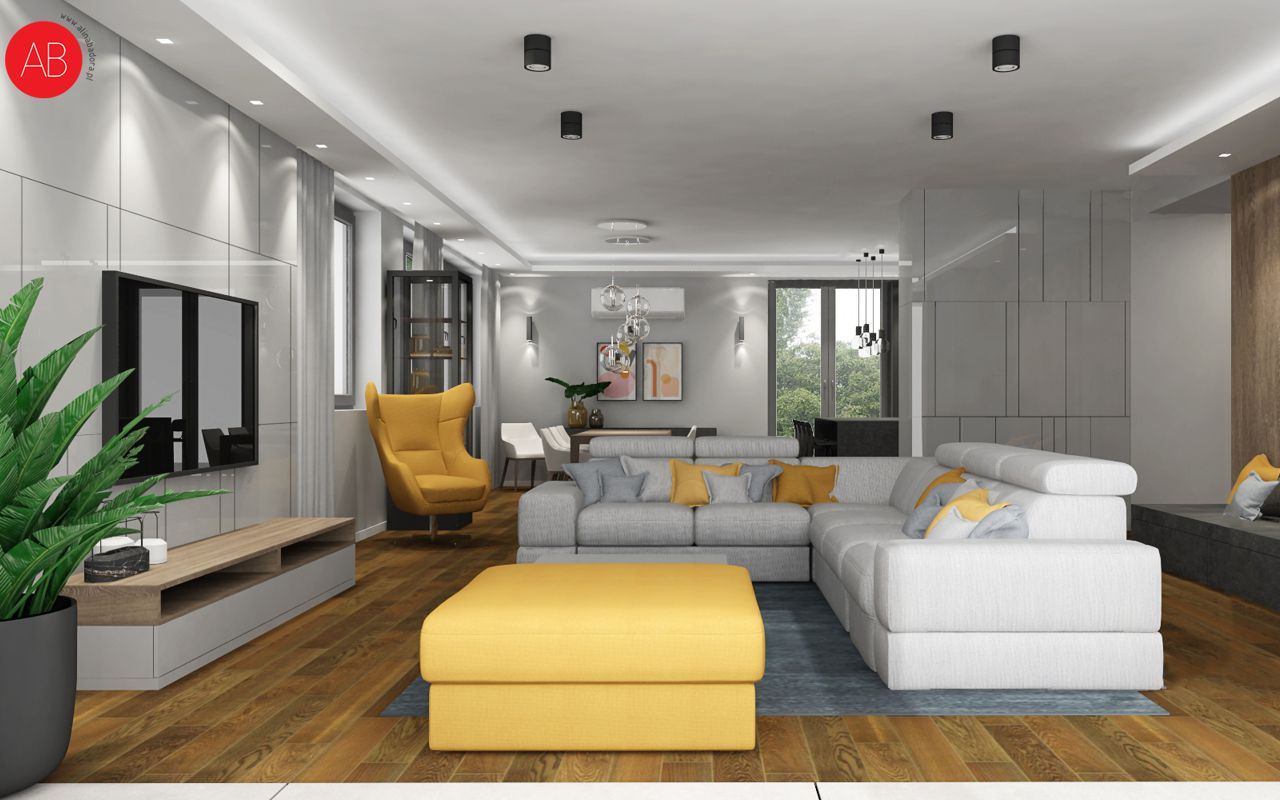 Dom pod dębem (salon, styl nowoczesny) - projekt wnętrza mieszkania | Alina Badora, architekt wnętrz