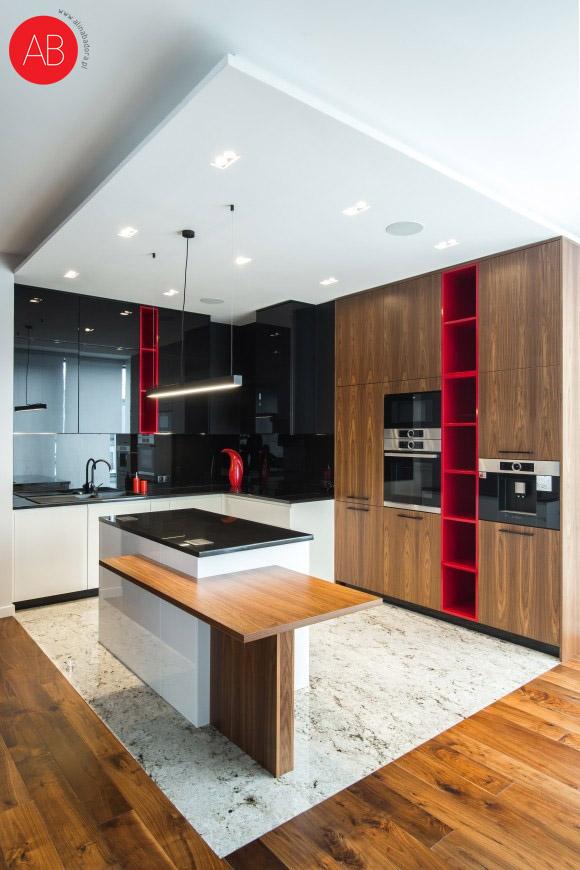 Malinowy modern (łazienka)- projekt wnętrza domu (kuchnia)   Alina Badora, architekt wnętrz