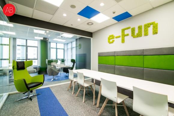Niebieski flow - projekt wnętrza biura firmy Promatic | Alina Badora, architekt wnętrz