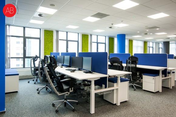 Niebieski flow - projekt wnętrza biur firmy Promatic | Alina Badora, architekt wnętrz