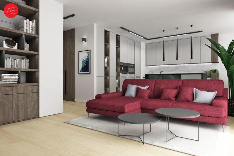 Poranna kawa (salon - naturalne drewno i biel) - projekt wnętrza   Alina Badora, architekt wnętrz