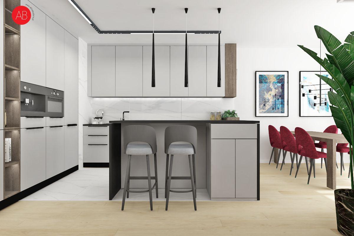Poranna kawa (kuchnia - biel i naturalne drewno) - projekt wnętrza | Alina Badora, architekt wnętrz