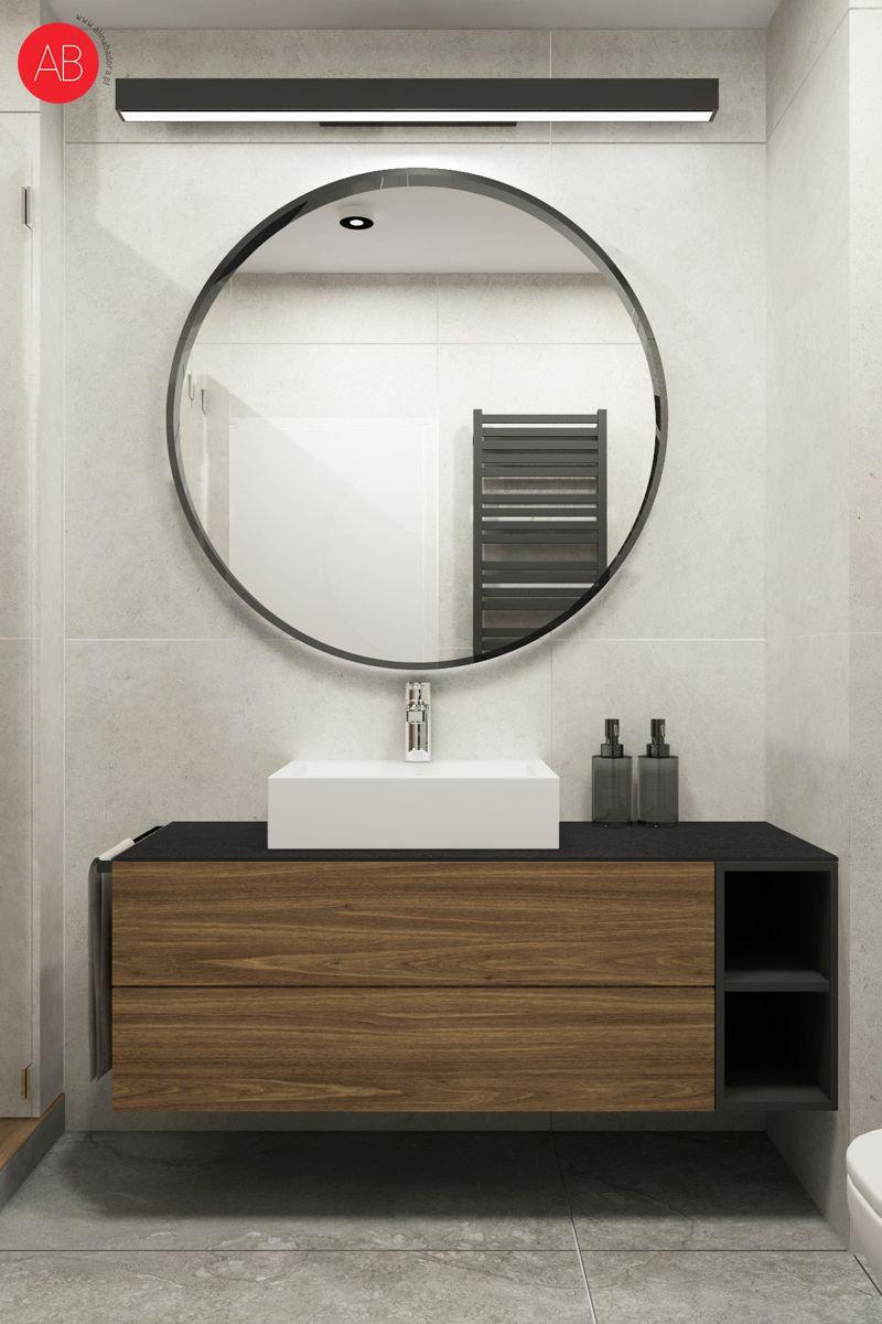 Poranna kawa (łazienka - naturalne drewno i szarości) - projekt wnętrza | Alina Badora, architekt wnętrz