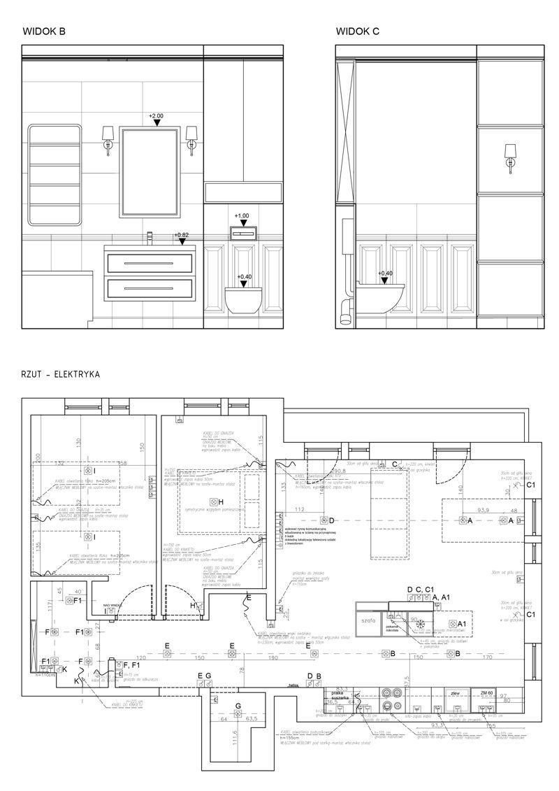 Książka projektowa - przykładowy rysunek wykonawczy - Alina Badora, architekt wnętrz