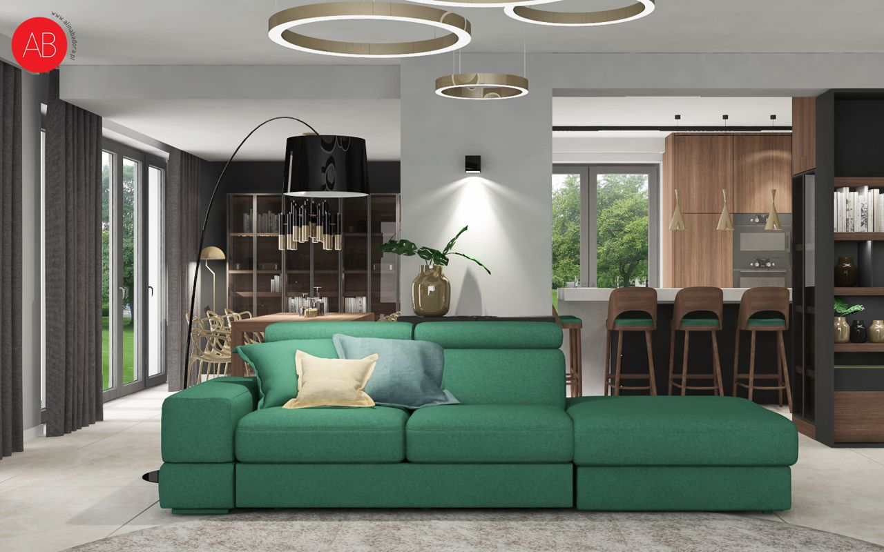 Wiosenny Wawer (salon) - projekt wnętrza domu | Alina Badora, architekt wnętrz